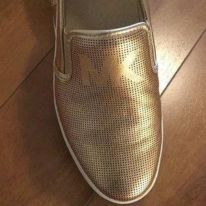 Michael Kors Women's Leather Metallic Shoes Gold